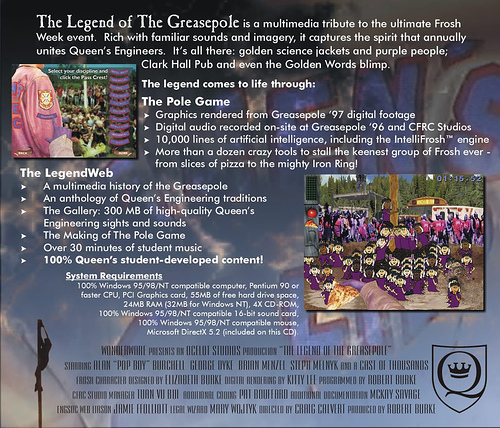 The Legend of the Greasepole is a multimedia tribute to the inexplicable Engineering traditions at Queens University in Canada.  Over 50 students contributed to the project.