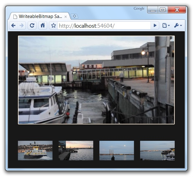 Capturing frames from video: the WriteableBitmap Silverlight 3 sample, running in Google Chrome!